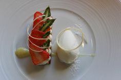 Sfogliatina with green asparagus, strawberries and lemon sabayone served with white asparagus ice cream