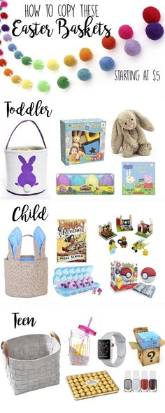 Easter Basket Ideas for Kids & Teens, For Toddlers, for boys, for girls, for kids, for teens, for babies, DIY, unique, for preteens, tween, for teenagers, for preschoolers, cheap, non candy, creative, for infants, small, cute, hatchimals, lego, bunny, Easter bunny, pokemon, easter gifts, Themed, carrot, amazing, cute, adorable, pretty, Easter Sunday, make your own easter basket, Easter crafts, Easter Ideas, #easterbunny #easter #eastercrafts #easterbaskets #easterbasketideas pink, blue…