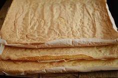Mod de preparare Prajitura cu foi si crema de lamaie: Foi: Vom imparti ingredientele in 3 parti si vom prepara pe rand foile pentru prajitura. Albusurile se bat spuma tare cu un praf de sare. Se adauga zaharul si se mixeaza pana obtinem o spuma densa si lucioasa. Galbenusurile frecate… Romanian Desserts, Romanian Food, Dessert Bread, Dessert Bars, Cookie Recipes, Dessert Recipes, Good Food, Yummy Food, I Foods