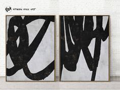 Large Set of 2 Abstract Art Minimalist Painting Canvas Art image 0