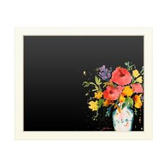 Write inspirational notes for yourself or keep track of your daily schedule with this Trademark Fine Art 'White Vase with Bright Flowers' chalkboard. Illustration Blume, Distressed Frames, Chalkboard Designs, Bright Flowers, White Vases, Art Inspo, Art Projects, Canvas Art, Painting Canvas