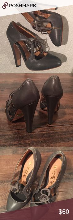 """L.A.M.B grey MaryJane Heels L.A.M.B Maryjane style heels.  Clear strap across the front and laces.  Some wear as shown in photo but so much life left.  Right under 5"""" heel height. L.A.M.B. Shoes Heels"""