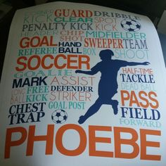 Love this navy, orange and aqua version of the girl's soccer typography art. Customize the name and colors for any soccer player or coach by twenty3stars.com