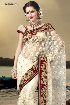 $141 Admirable Off White Embroidered Net Saree From Cbazaar