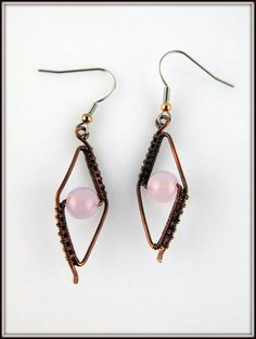 Copper Wire Wrapped Pink Chalcedony Earrings Woven Copper