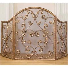 antique gold iron fireplace screen old world designs screens fireplace accessories home de - Decorative Fireplace Screens