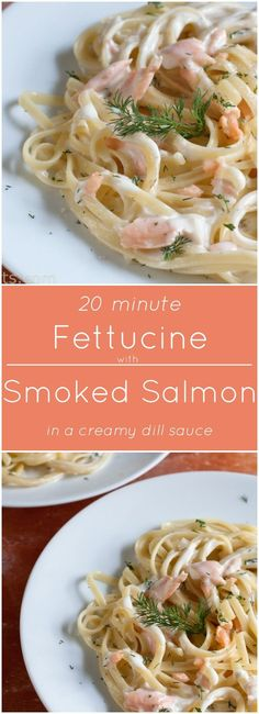 Fettucine with Smoked Salmon Cream Sauce with Fresh Dill. Ready in just 20 minutes! Fettucine with Smoked Salmon Cream Sauce with Fresh Dill. Ready in just 20 minutes! Salmon With Cream Sauce, Sauce For Salmon, Salmon And Shrimp, Baked Salmon, Pasta With Smoked Salmon, Smoked Salmon Carbonara, Smoked Salmon Risotto, Sauce Recipes, Spaghetti
