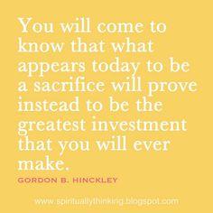 Terminarás descubriendo que lo que aparenta ser ahora un gran sacrificio demostrará ser la mejor inversión que alguna vez hiciste.