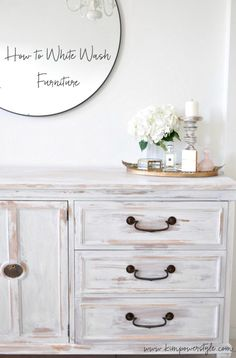 White washed dresser. First project in the guest room makeover.