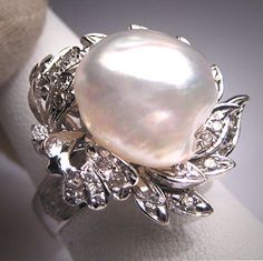 Antique Palladium Diamond Large Baroque Pearl by AawsombleiJewelry, $3485.00