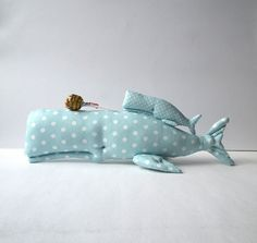 Nautical nursery Whale toy, plush Whale, mint toy. Handmade cute softie. Child friendly. Aqua blue / mint cotton. Nice gift  for baby shower