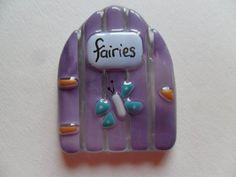 Glass Fairy door,  Fairy door, miniature,  fairy  house door, fused glass, fairies, magic, fantasy, Butterfly, purple,  kiln fused, handmade
