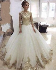 Cheap gown modeling, Buy Quality gown bridal directly from China gown kids Suppliers: Vestido De Noiva Robe De Mariage 2016 Shiny Princess Wedding Dresses Half Sleeve Gold Lace Bridal Gowns Custom Sexy Wedding Dresses, Princess Wedding Dresses, Bridal Dresses, Wedding Gowns, Prom Dresses, Sexy Dresses, Dubai Wedding, Dresses 2016, Formal Wedding