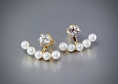 Pearl and Cubic Zirconia Bridal Earring Jackets.  Four different styles to choose from | ADORA by Simona