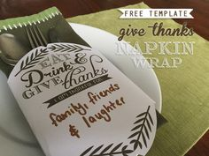 Free Give Thanks Napkin Wrap Printable Free Printable Wedding Invitations, Give Thanks, Fall Crafts, Wedding Styles, Free Printables, Craft Projects, Napkins, Thanksgiving, Thankful