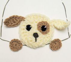 Puppy Applique Crochet Dog Applique Designe Hat Applique by 2mice