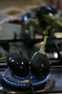 Spicy Eggplant Jam with Grilled Bread
