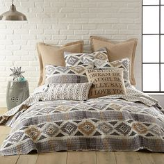 Give your bedroom a fresh, new look with the Levtex Home Kora Reversible Quilt. Decked out in a neutral geometric ikat pattern with a small diamond pattern, the unique bedding instantly livens up any room's décor. Master Bedroom, Bedroom Decor, Bedroom Ideas, Gray Bedroom, Bedroom Designs, Queen Bedroom, Master Suite, Bedroom Furniture, Moroccan Bedroom