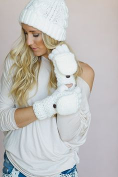 flip down knitted gloves - cozy mittens