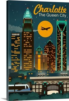 Charlotte North Carolina Skyline | Travel Posters | Pinterest
