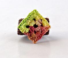 Crochet+Ring+Fiber+Ring++Diamond+Shape+by+Nothingbutstring+on+Etsy,+$7.00