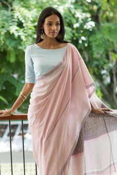 This Soft blush pink saree with a pale blue jacket, wear this with silver jewelry to make your day special occasion elegant. This cotton saree is feather l Saree Draping Styles, Saree Styles, Saris, Indian Dresses, Indian Outfits, Indian Clothes, Lehenga, Saree Jackets, Sari Dress