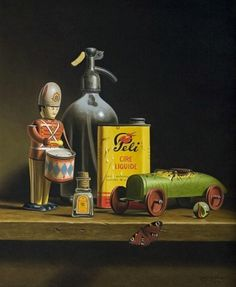 A wonderfulll sitill life Painting from the Dutch painter Stefaan Eyckmans showing a Toy Drummer and Vintage Racecar + sifon , one of the seldom painter who create this kind of theme in his workm absolutely stunning in my humble opinion Painting Still Life, Still Life Art, Toys Photography, Still Life Photography, Antique Toys, Vintage Toys, Silverware Art, Hyper Realistic Paintings, Oil Painting Techniques