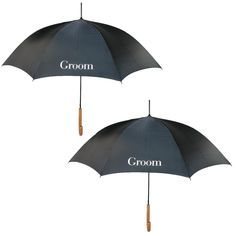 These matching Groom umbrellas are great accessories to your wedding day pictures. They are also an adorable way to keep the grooms out of the rain and beaming sun on their big day.