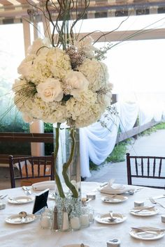 Centerpieces for elegant beach side wedding. Planner: Myrna Swire, It's Your Party Events