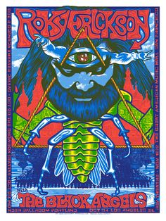 """Roky Erickson with The Black Angels tour poster 18x24"""" 5 color screen print s/n edition of 190  sold out   * BTW This was the image for a Tour T Shirt, as well! The Black Angels opened AND backed Roky. Video snapshot from the show klik.."""