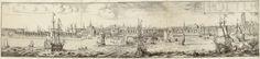 Romeyn de Hooghe | Gezicht op Rotterdam vanaf de Maas (linkerhelft), Romeyn de Hooghe, 1694 | Linkerhelft van een gezicht op Rotterdam vanaf de Maas, met op de voorgrond enkele schepen en boven de voorstelling een banderol met 'ROTTERODAMUM'. Deze bladen maken deel uit van een omvangrijke prent met een grote plattegrond van Rotterdam, omgeven door een stadsprofiel (onder) en gezichten op markante Rotterdamse gebouwen en locaties (links en rechts).