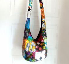 Patchwork Hobo Bag Sling Bag Bright Colorful by 2LeftHandz on Etsy, $35.00