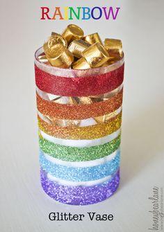 Rainbow Glitter Vase - DIY tutorial.