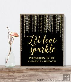 Let Love Sparkle Sign DIY / Gold Wedding Sign / Great Gatsby, Bokeh String Light / Black and Gold Calligraphy ▷ Instant Download JPEG https://www.etsy.com/listing/277097626/let-love-sparkle-sign-diy-gold-wedding?utm_source=mento&utm_medium=api&utm_campaign=api #weddings #decoration
