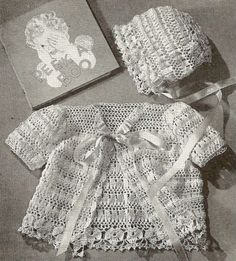 This is also a crocheted vintage baby ensemble