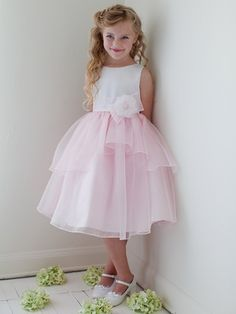 Pink Double Layered Organza Dress w/ Satin Bodice (Replace the flower with a butterfly)