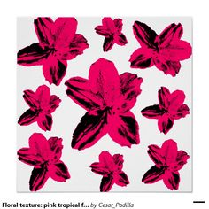 Floral texture: pink tropical flowers over white perfect poster