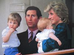 The Prince and Princess of Wales with their children Princes William and Harry.
