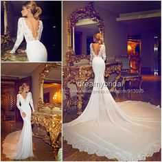 2014 New arraival Sexy Berta Wedding Dresses lace long sleeves Vestidos De Noiva Mermaid Bridal Gowns weddings and events $259.99