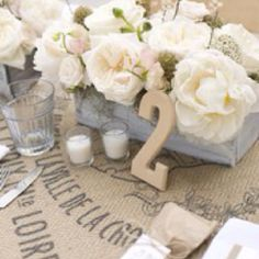 wooden numbers and awesome burlap tablecloth