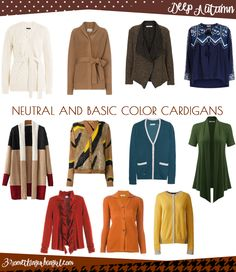 Wardrobe Essential: Neutral and basic color cardigans for  Deep Autumn  women by 30somethingurbangirl.com // Find your best neutral and basic color cardigans and wear them during this autumn or any time you need a plus layer. Which is the best neutral and basic color shades for Deep Autumn seasonal color women? And what is the key style elements of your seasonal palette? Click and read it in my post.