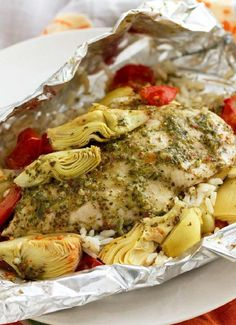 Foil-Pack Chicken & Artichoke Dinner -- This low-cal, healthy living recipe also boasts easy cleanup--a win-win-win!