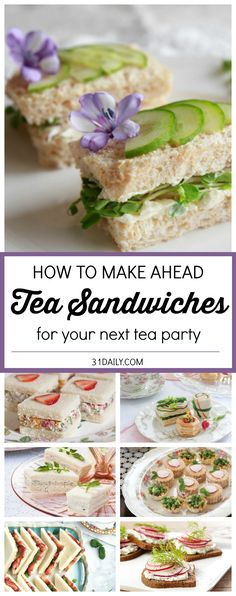 Favorite If you're hosting an afternoon tea, chances are you're serving tea sandwiches. And would like to find some Easy Make Ahead Tea Sandwiches. We've gathered some delicious ideas and beautiful… Snacks Für Party, Appetizers For Party, Appetizer Recipes, Tea Party Recipes, Tea Party Foods, Tea Party Sandwiches Recipes, Tea Time Recipes, Food For Tea Party, Tea Party Snacks