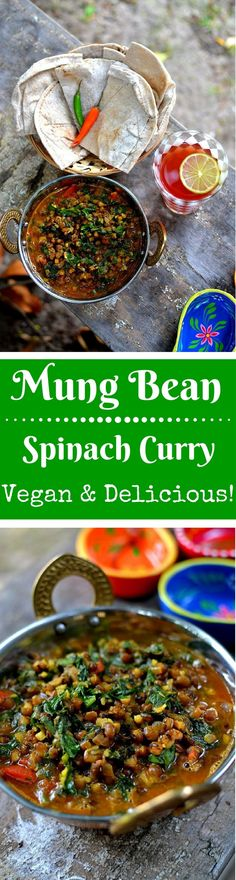 Moong Palak (Spinach and Mung Beans Curry): A Delicious, Cooling & Nutritious curry, perfect for warm months! And it is Vegan!