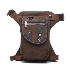 Sale 19% (19.72$) - Men\'s Vintage Style Multifunction Outdoor Sports Anti-friction Canvas Waist Leg Bag