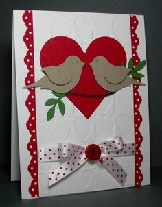 Valentine Birds by card crazy - Cards and Paper Crafts at Splitcoaststampers by gay Valentine Love Cards, Valentines Diy, Wedding Anniversary Cards, Wedding Cards, Anniversary Greeting Cards, Happy Anniversary, Engagement Cards, Embossed Cards, Paper Cards