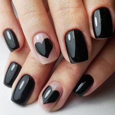 black-nails-cool-ideas-hearts-negative-s