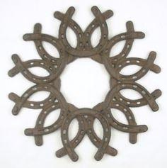 DIY horseshoe wreath. @Betsy Buttram Buttram Buttram Buttram Grove would looooove this!
