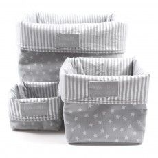 Storage box Light grey - Silver stars