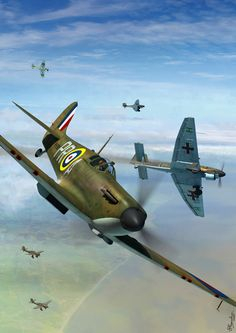 Supermarine Spitfire Mk I, 609 Sqn. RAF, vs Junkers Ju 87B Stuka, Battle of Britain, August 1940, by Jerry Boucher